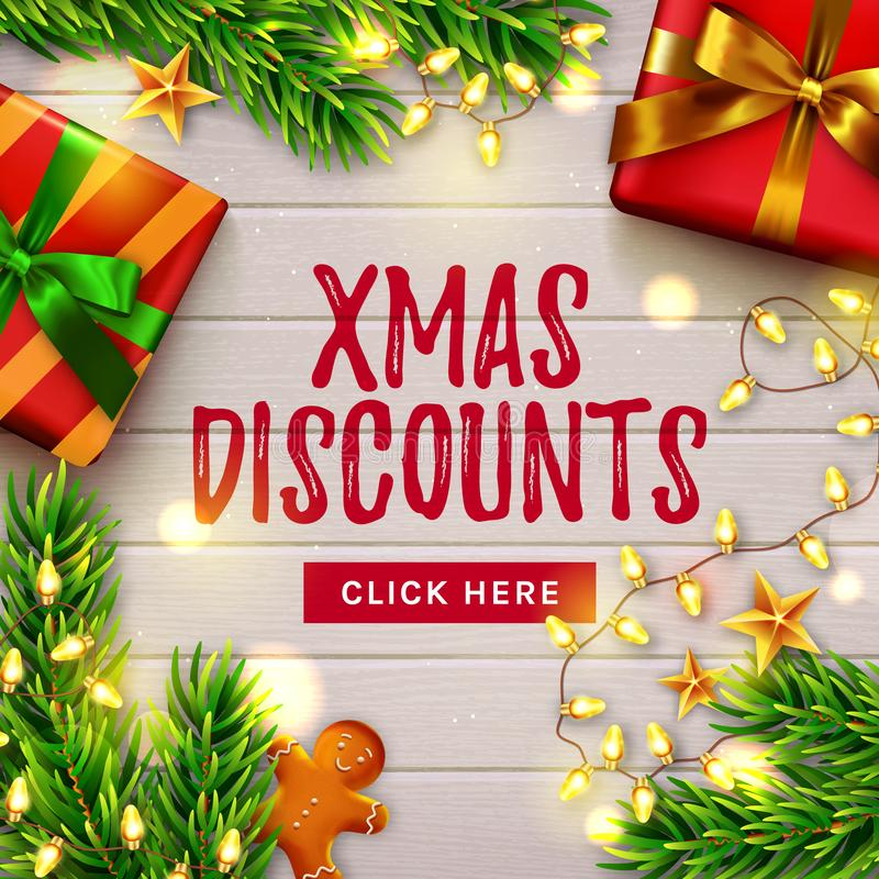 Christmas sale banner. Wooden decorated background. Vector vector illustration