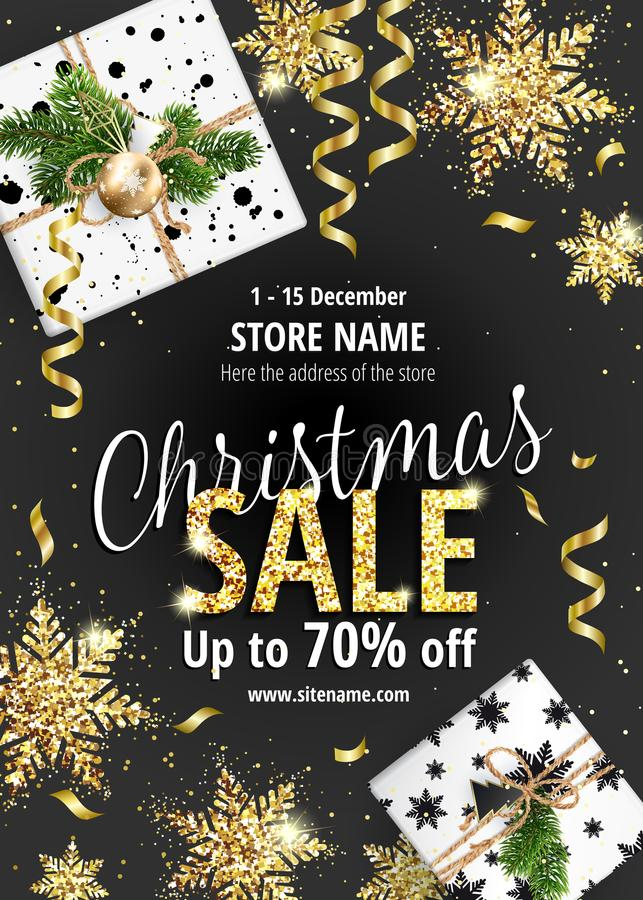 The Christmas sale. Black banner for web or flyer. stock illustration