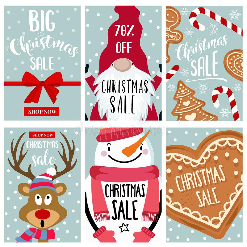Christmas sale card collection stock illustration