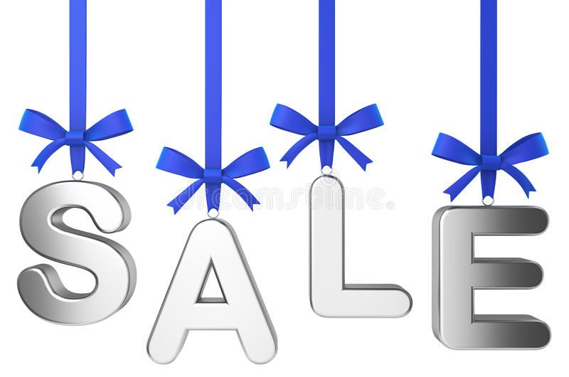 Christmas sale concept. Letters on nice bow