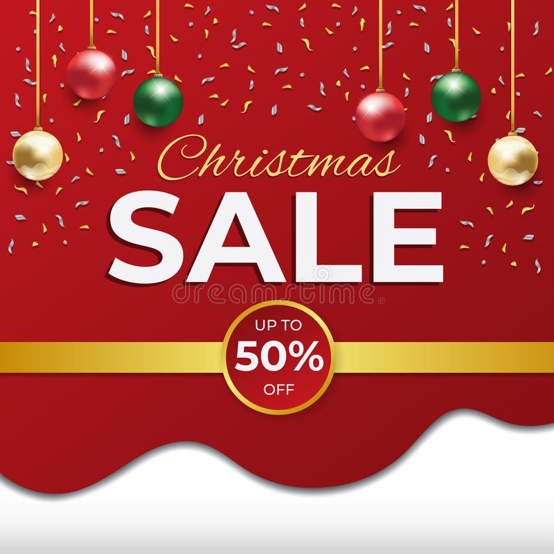 Christmas Sale discount red and white square card poster and flyer stock illustration
