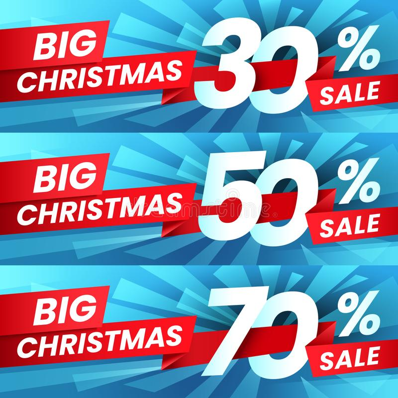 Christmas Sale Discount. Xmas advertising sales discounts deals, winter holiday special offer and shopping best deal stock illustration