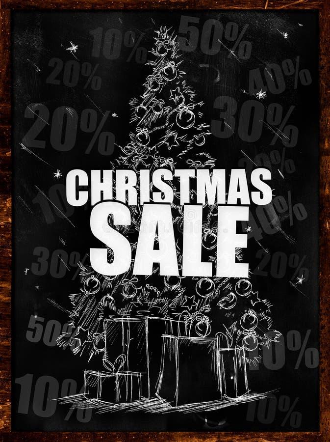Download Christmas Sale Drawing On Blackboard Stock Illustration - Image: 35684275