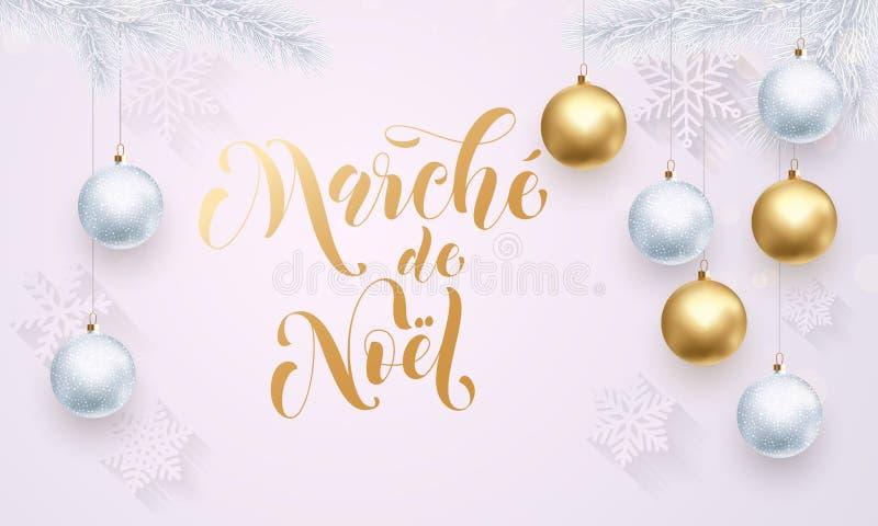 Christmas Sale French Vente de Noel golden glitter stock illustration