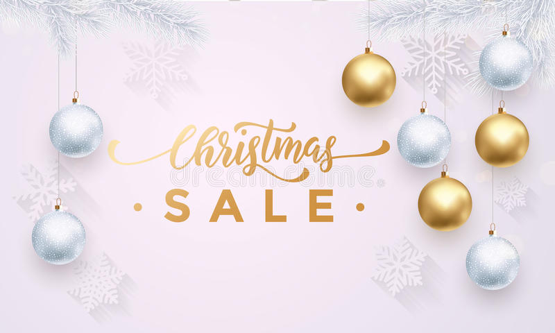 Christmas Sale gold banner white background with snowflakes, balls stock illustration