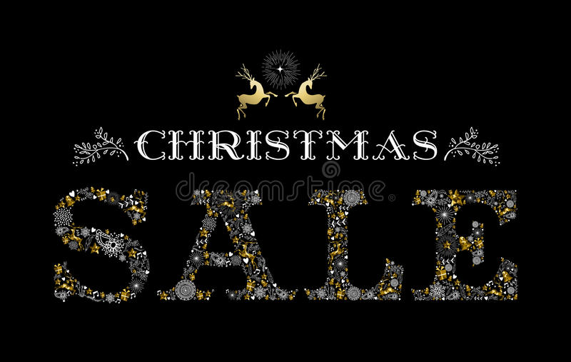 Christmas sale gold deer holiday elements shop. Christmas sale design with reindeer label in gold color and holiday elements making text shape. Ideal for vector illustration
