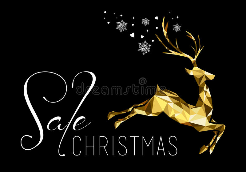 Christmas sale gold reindeer business shop xmas. Christmas sale illustration design with gold low poly reindeer and holiday elements. Ideal for business, shop or royalty free illustration