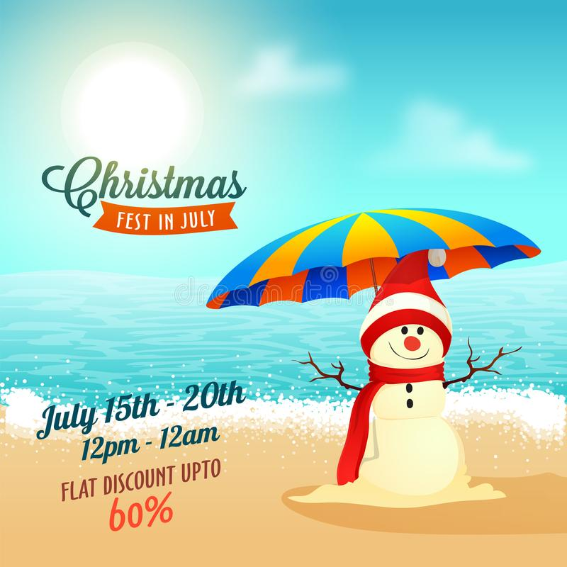 Christmas sale in July, poster, or banner template with snowman stock illustration
