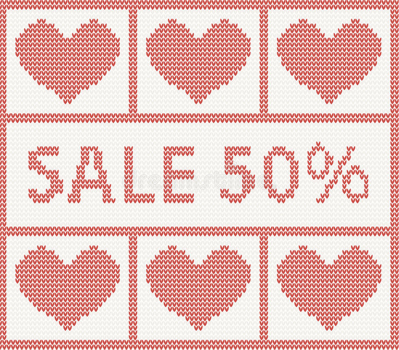 Download Christmas Sale.Knitted Pattern With Hearts Stock Vector - Illustration of christmas, apparel: 35005735