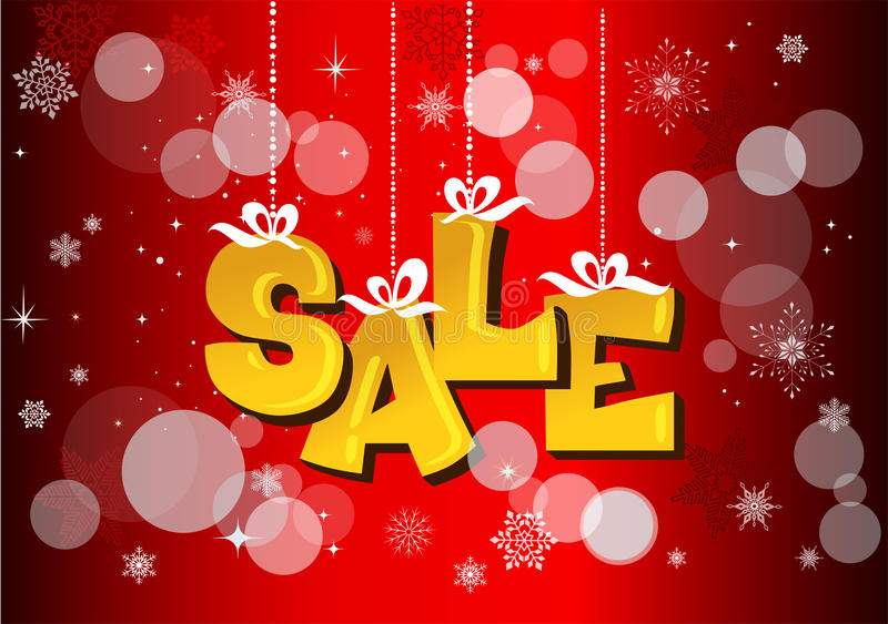 Christmas sale label with ribbons stock images