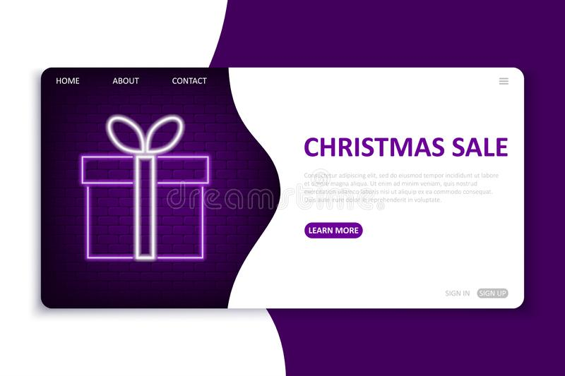 Christmas Sale landing page. Website template in neon style for seasonal holiday discounts. Bright neon web site mock up. For online shop for New Year and vector illustration