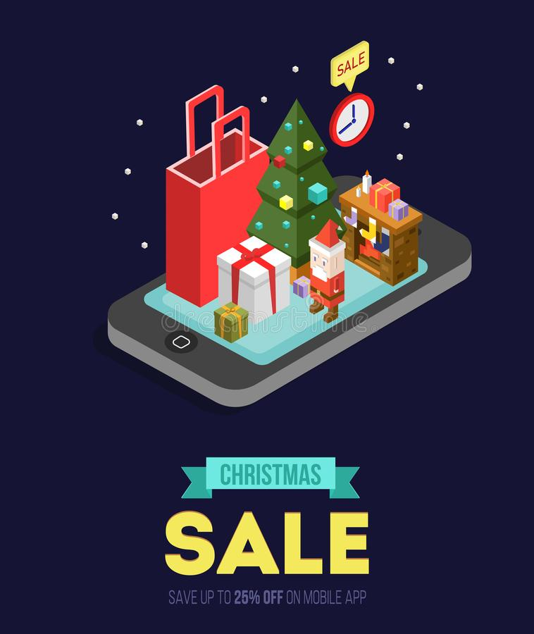 Christmas sale online shopping isometric vector illustration.Internet shop store in Smartphone with Christmas gifts, fireplace, C. Hristmas tree and Santa vector illustration