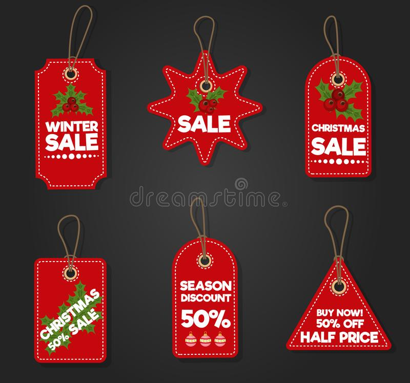 Christmas sale paper tag banner holiday discount xmas winter offer advertising shopping promotion vector illustration. vector illustration