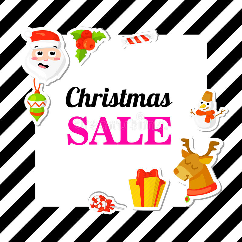 Christmas SALE. Poster, banner with stickers. Cartoon style. royalty free illustration