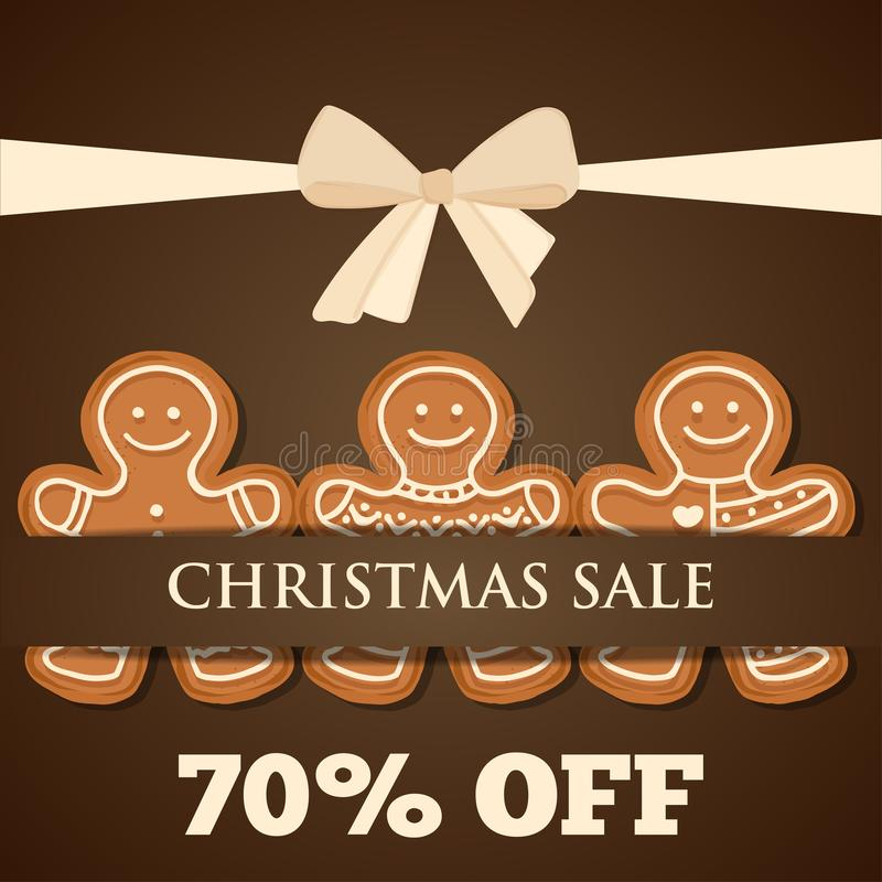 Christmas sale poster with gingerbread man vector illustration