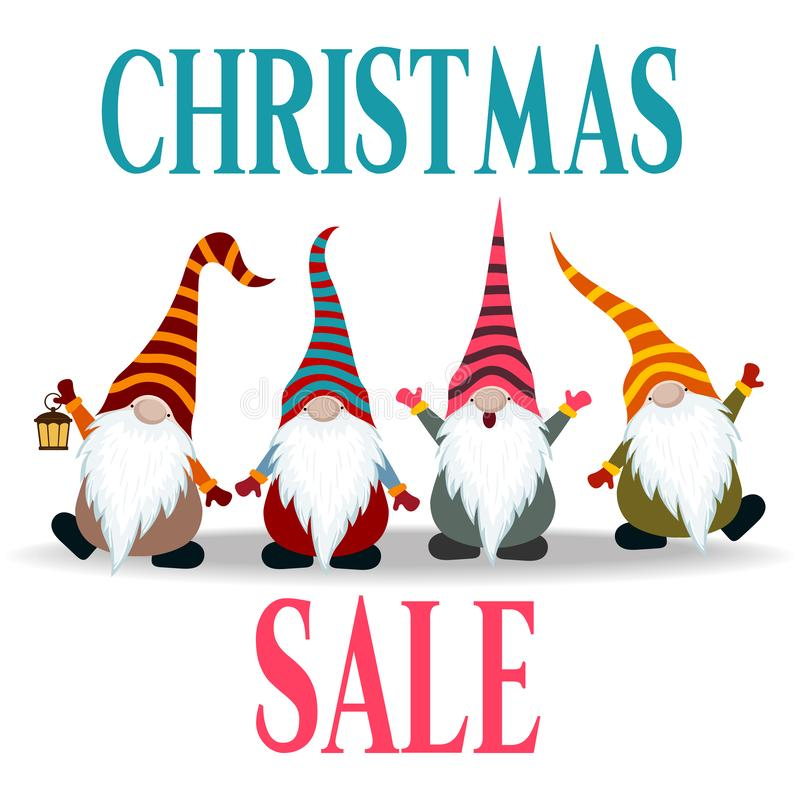 Christmas sale banner with gnomes royalty free illustration