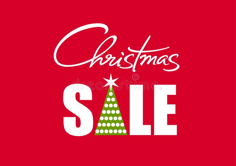 Christmas sale poster with handwritten lettering. White text with fir tree silhoiette isolated on red background. Vector stock illustration