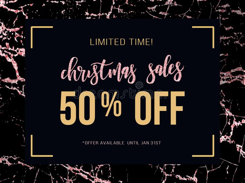 Christmas sale poster on rose gold marble background. Vector ill vector illustration