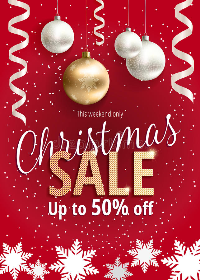 The Christmas sale. Red banner for web or flyer. vector illustration