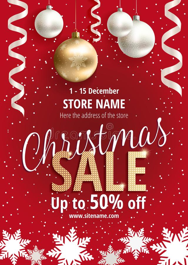 The Christmas sale. Red poster for shop stock illustration