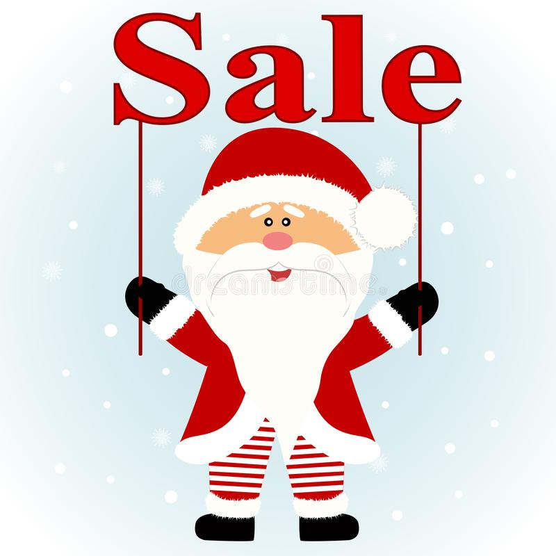 Christmas sale. Santa. Santa with with banner. Flat design. stock photography