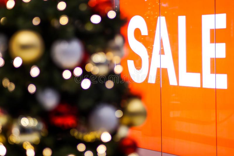 Christmas sale in a shopping mall stock photo