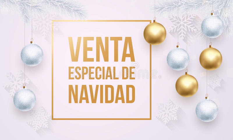 Christmas Sale Spanish Venta de Navidad golden white promo poster royalty free illustration