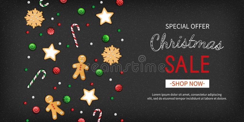 Christmas sale Special offer horizontal banner. Winter festive traditional sweets, cookies, lollipops, candy cane, gingerbread man stock illustration
