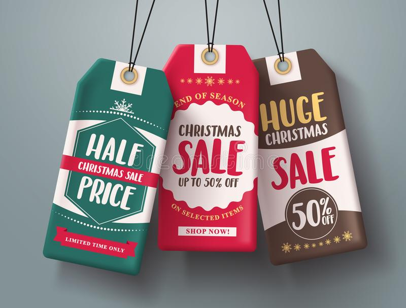 Christmas sale tags hanging vector set in different colors with huge sale and half price text vector illustration