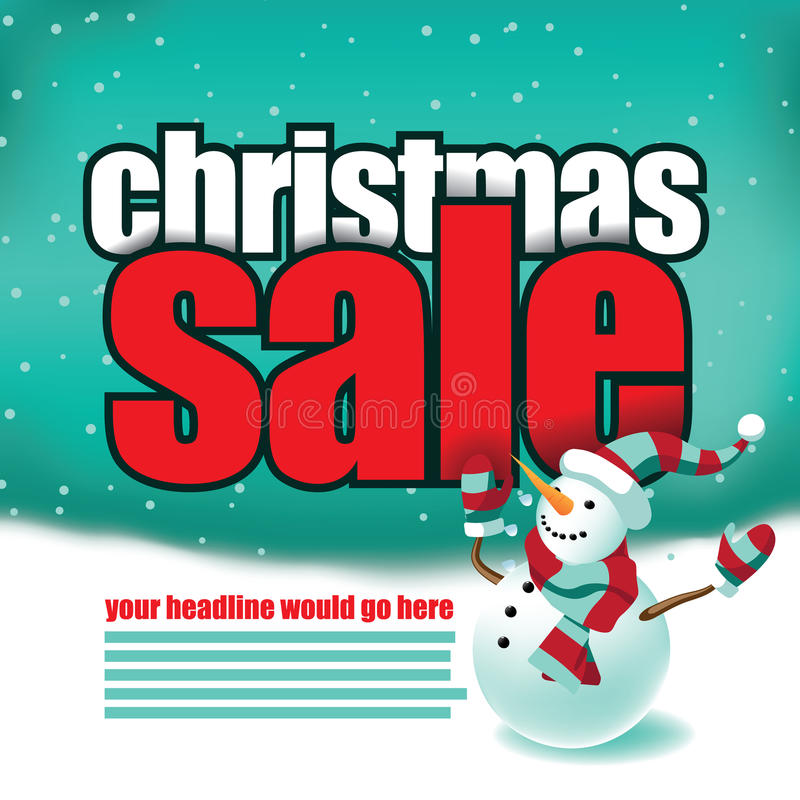 Christmas sale template with cute snowman stock illustration