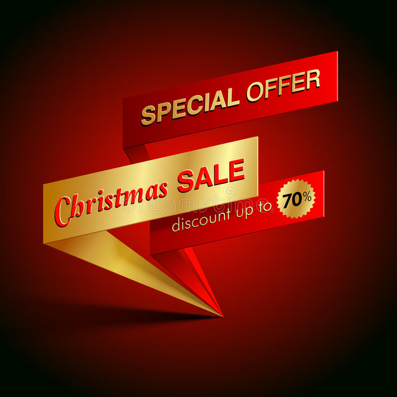 Christmas sale template. Christmas sale special offer vector template stock illustration