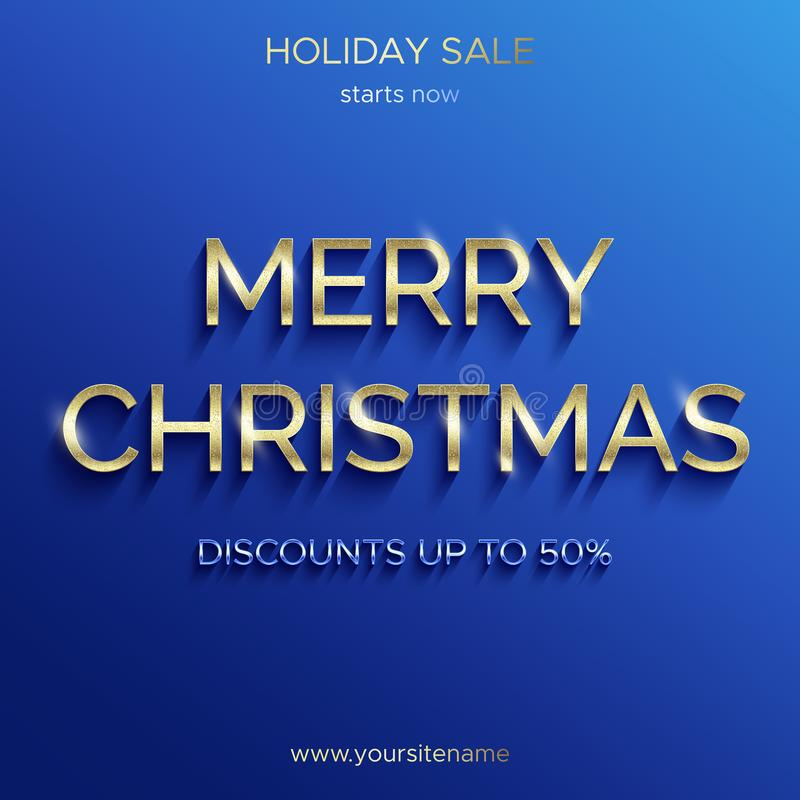 Christmas sale up to 50 percent. Blue banner. royalty free illustration