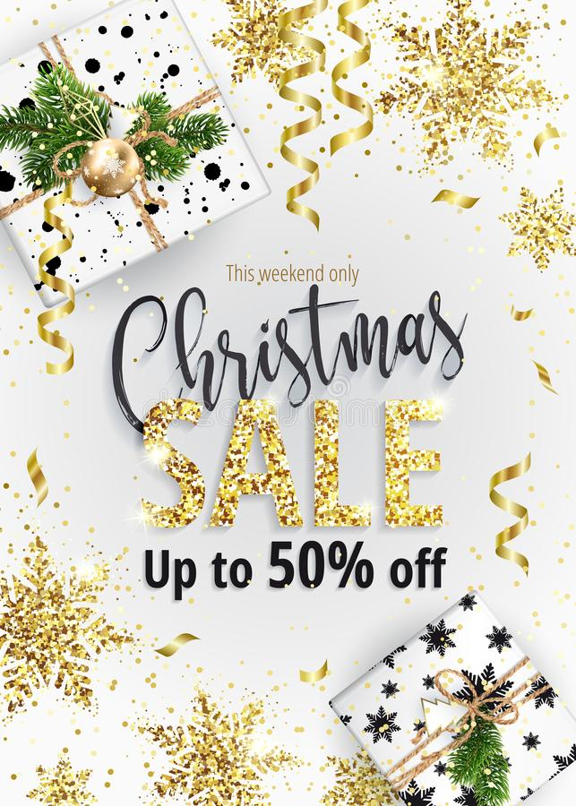 The Christmas sale. White banner for web or flyer. stock illustration