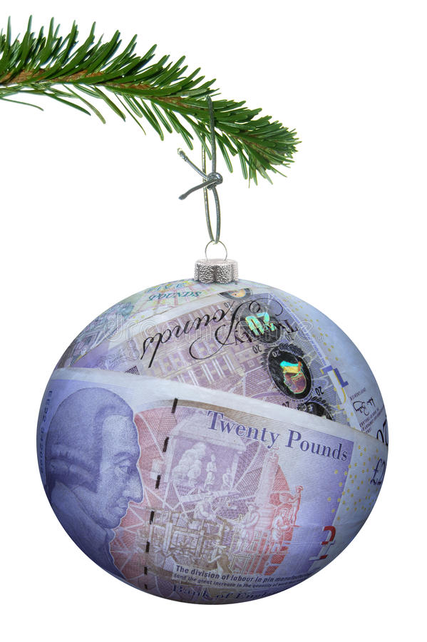 Christmas sales concept money bauble royalty free stock photos
