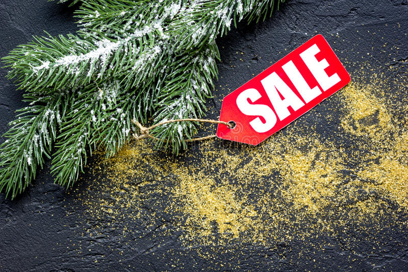 Christmas sales on dark background top view.  stock images
