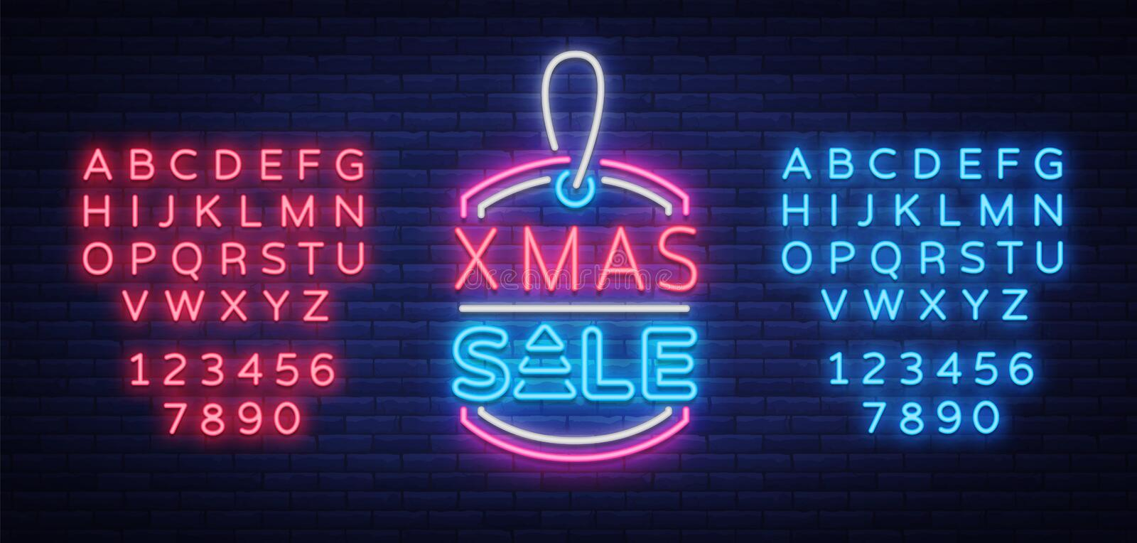 Christmas sales, neon sign, advertising bright festive discounts. New Year card sale, light banner. Xmas Winter royalty free illustration
