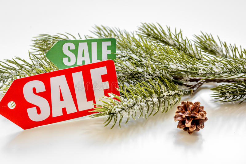 Christmas sales on white background close up.  stock photos
