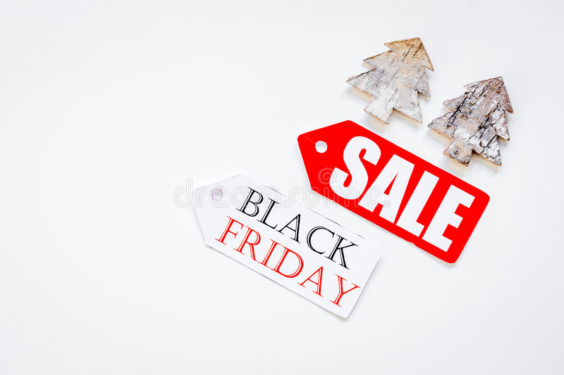 Christmas sales on white background top view.  royalty free stock images