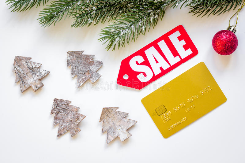 Christmas sales on white background top view.  stock image