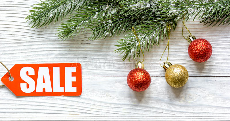 Christmas sales on wooden background top view.  royalty free stock photography