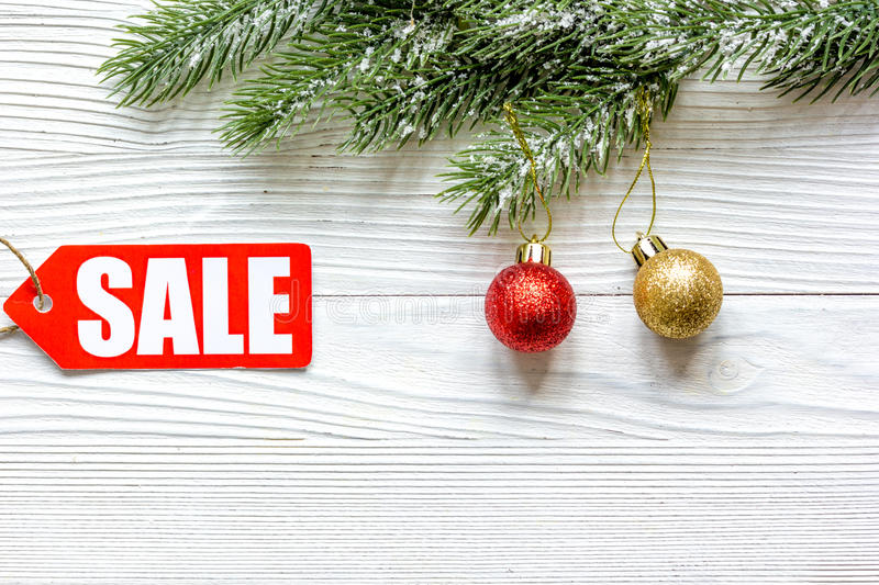 Christmas sales on wooden background top view.  stock images