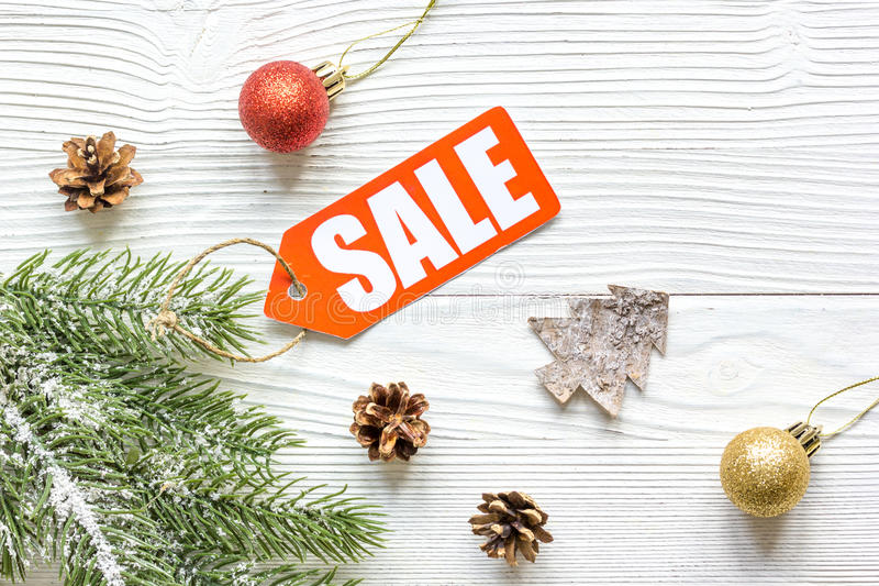 Christmas sales on wooden background top view.  stock photo