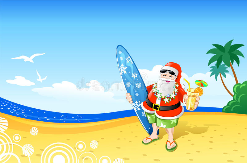Download Christmas Santa On The Beach Stock Vector - Illustration of sand, surfboard: 11944087