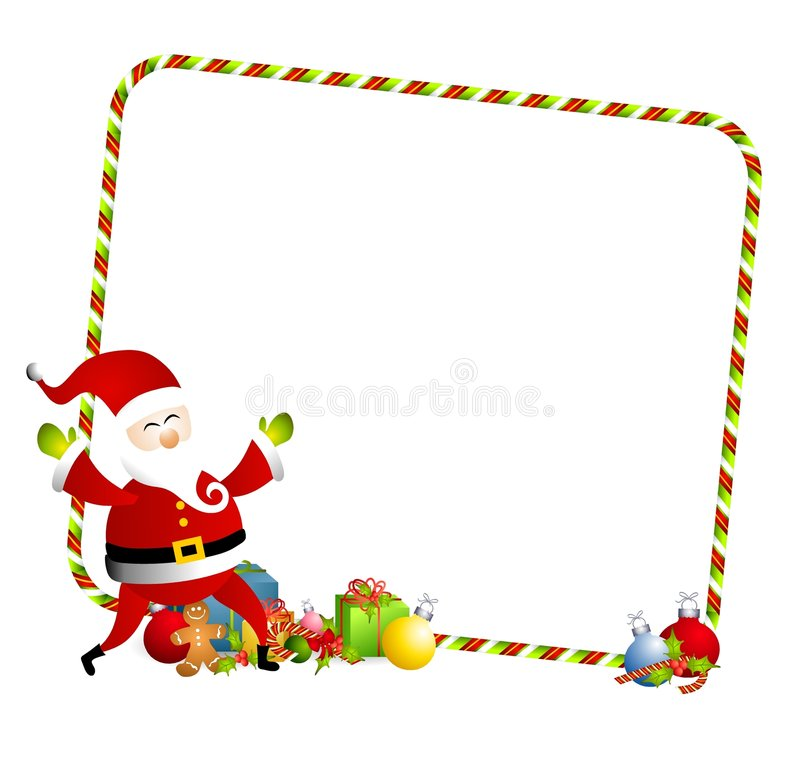 Christmas Santa Border 3. An illustration featuring a Santa Claus with candy cane border and presents vector illustration