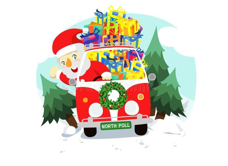 Christmas Santa In The Car Royalty Free Stock Image