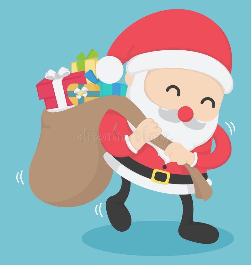 Christmas Santa Claus carrying big bag full with presents stock illustration