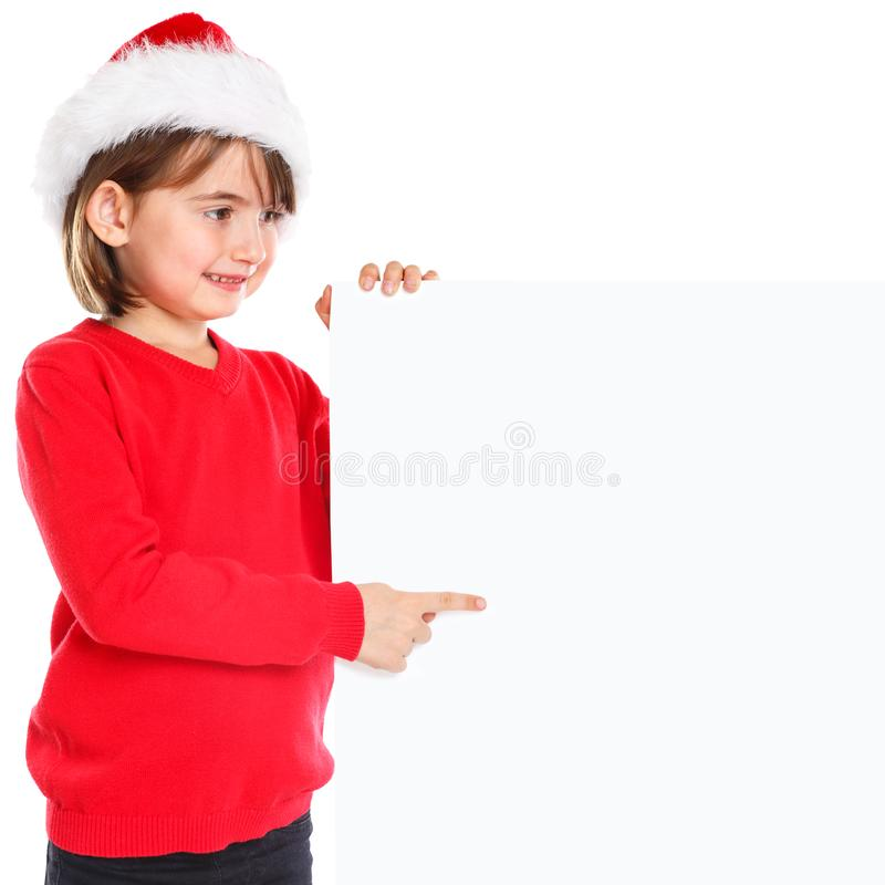 Christmas Santa Claus child kid girl pointing looking empty banner square copyspace stock images