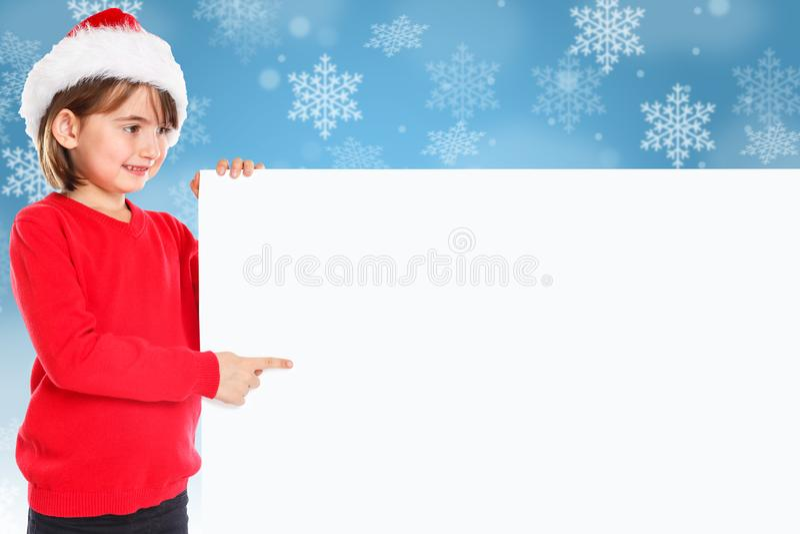 Christmas Santa Claus child kid girl snow pointing looking empty stock photos
