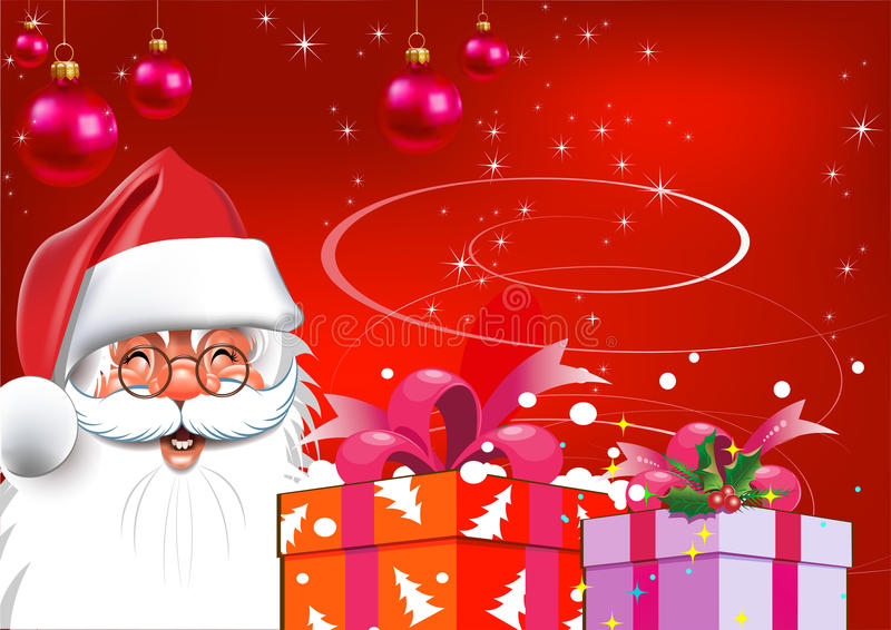 Download Christmas. Santa Claus With Gifts. Red Background Stock Vector - Image: 21886151