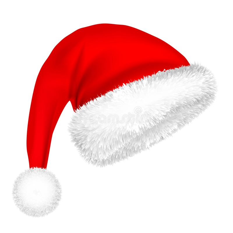 Christmas Santa Claus Hat With Fur. New Year. Winter Cap. Vector illustration. royalty free illustration